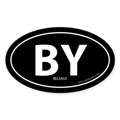 Belarus country bumper sticker -Black (Oval)
