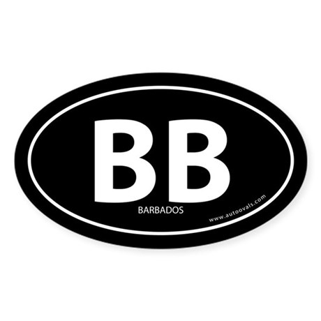 Barbados country bumper sticker -Black (Oval)