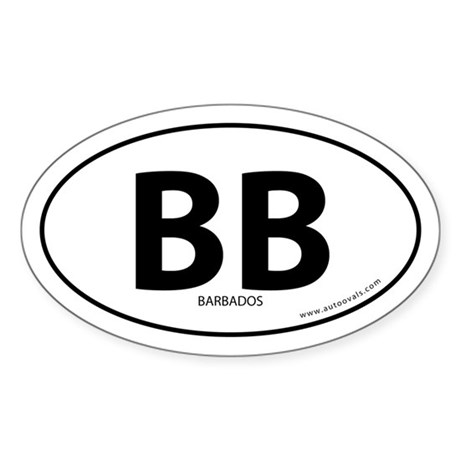 Barbados country bumper sticker -White (Oval)