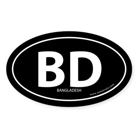 Bangladesh country bumper sticker -Black (Oval)