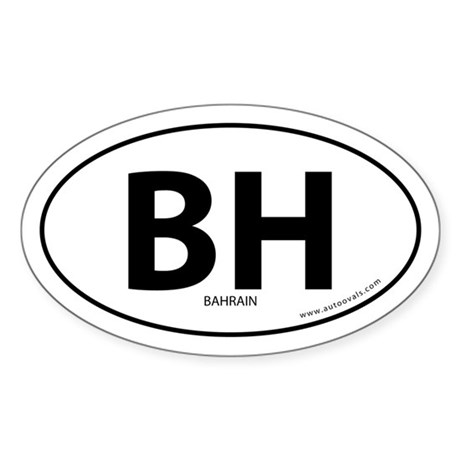 Bahrain country bumper sticker -White (Oval)