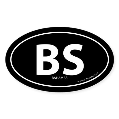 Bahamas country bumper sticker -Black (Oval)