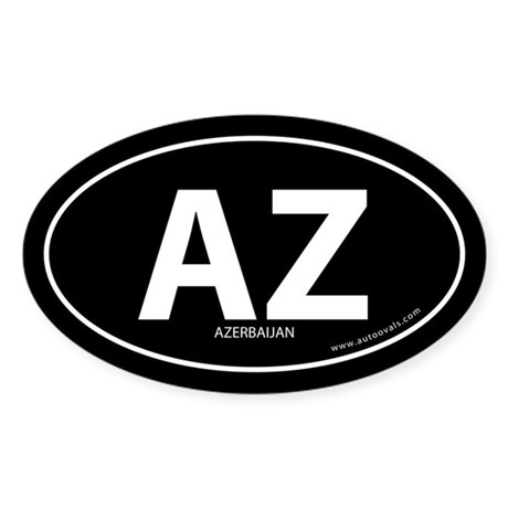 Azerbaijan country bumper sticker -Black (Oval)