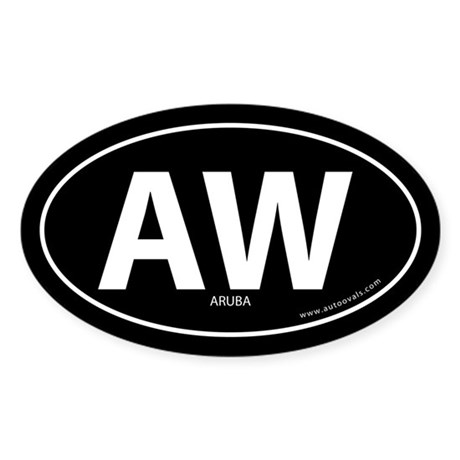 Aruba country bumper sticker -Black (Oval)