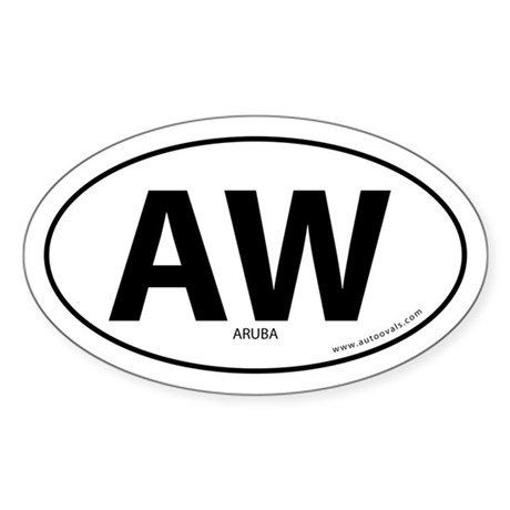 Aruba country bumper sticker -White (Oval)