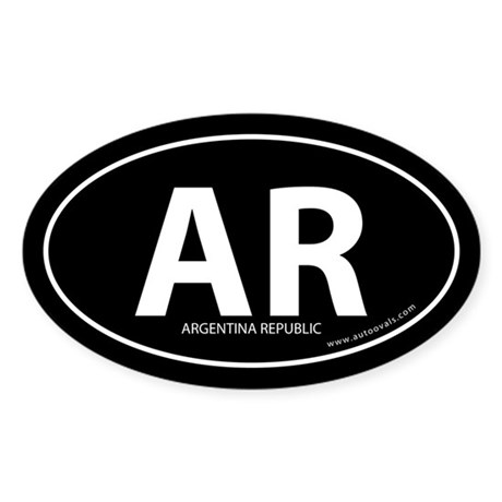 Argentina Republic bumper sticker -Black (Oval)