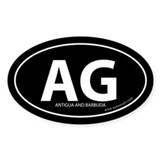 Antigua and Barbuda bumper sticker -Black (Oval)