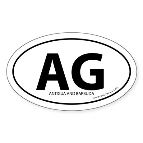 Antigua and Barbuda bumper sticker -White (Oval)