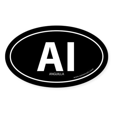 Anguilla country bumper sticker -Black (Oval)