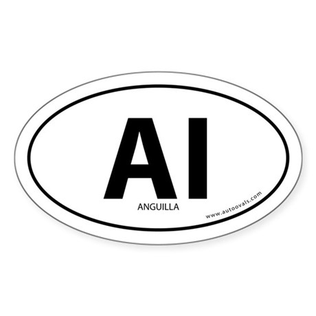 Anguilla country bumper sticker -White (Oval)