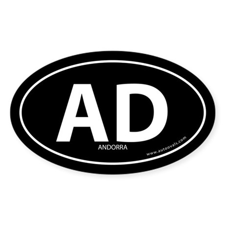 Andorra country bumper sticker -Black (Oval)