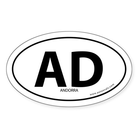 Andorra country bumper sticker -White (Oval)