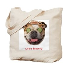 "Bulldog ""Life is Beautiful"" Tote Bag"
