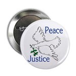 Peace and Justice with Flying Dove (Button)