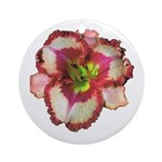 Red Ruffled Daylily Ornament (Round)