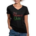 Blessed Yule Women's V-Neck Dark T-Shirt