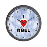 I Love Abel (Black) Valentine Wall Clock