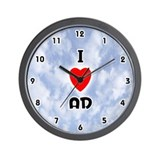 I Love Ad (Black) Valentine Wall Clock