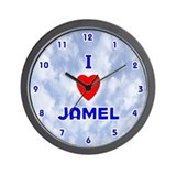 I Love Jamel (Blue) Valentine Wall Clock