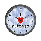 I Love Alfonso (Black) Valentine Wall Clock