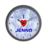 I Love Jenna (Blue) Valentine Wall Clock