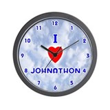 I Love Johnathon (Blue) Valentine Wall Clock