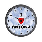 I Love Antony (Black) Valentine Wall Clock