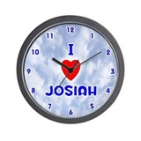 I Love Josiah (Blue) Valentine Wall Clock