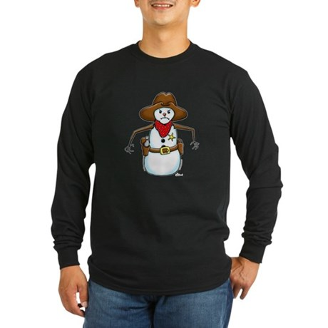 Snowman Cowboy Long Sleeve Dark T-Shirt