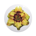 Peach Double Daylily Ornament (Round)