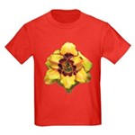 Peach Double Daylily Kids Dark T-Shirt