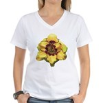 Peach Double Daylily Women's V-Neck T-Shirt