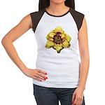 Peach Double Daylily Women's Cap Sleeve T-Shirt