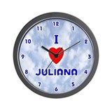 I Love Juliana (Blue) Valentine Wall Clock