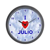 I Love Julio (Blue) Valentine Wall Clock