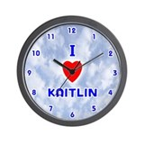 I Love Kaitlin (Blue) Valentine Wall Clock