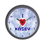 I Love Kasey (Blue) Valentine Wall Clock