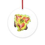 Pink w/ Ruffles Daylily Ornament (Round)