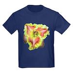 Pink w/ Ruffles Daylily Kids Dark T-Shirt