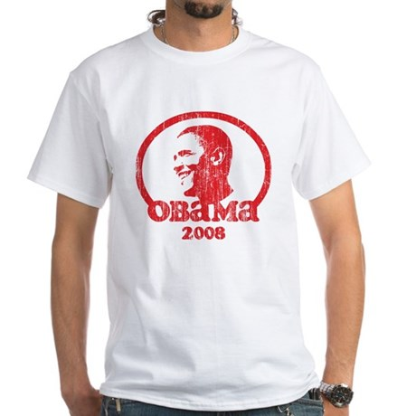 Barack Obama 2008 (Red Vintag White T-Shirt