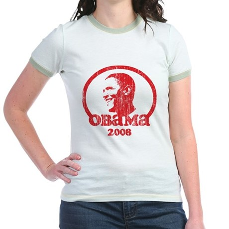 Barack Obama 2008 (Red Vintag Jr. Ringer T-Shirt