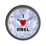 I Love Abel (Red/Blk) Valentine Wall Clock