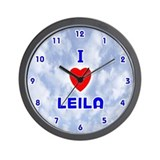 I Love Leila (Blue) Valentine Wall Clock