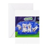 Westie on blue sofa Greeting Cards (Pk of 10)