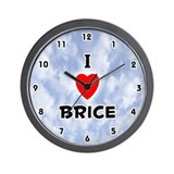 I Love Brice (Black) Valentine Wall Clock
