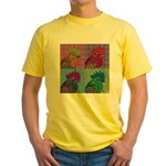 Roosters Gone Psycho Yellow T-Shirt