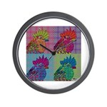 Roosters Gone Psycho Wall Clock