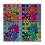 Roosters Gone Psycho Tile Coaster