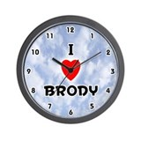 I Love Brody (Black) Valentine Wall Clock