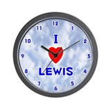 I Love Lewis (Blue) Valentine Wall Clock